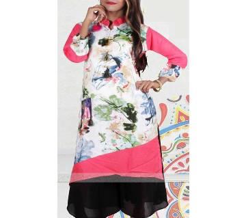 China Linen Wood  Button Dress