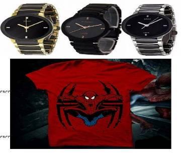 Rado Jubile 3 Wrist Watch (copy) + Spiderman Menz Round Neck T-shirt Combo Offer