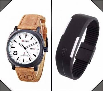 Curren wrist Watch + LED Sports Watch Combo offer