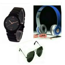RADO Gents Wristwatch (Copy) + Beats Solo HD Wired Headphones (Copy) + Ray Ban Sunglasses (Copy) Combo Offer