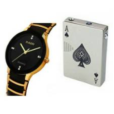 Poker Card Lighter With Money Tester Light And RADO Gents Wrist watch (Copy) Combo Offer