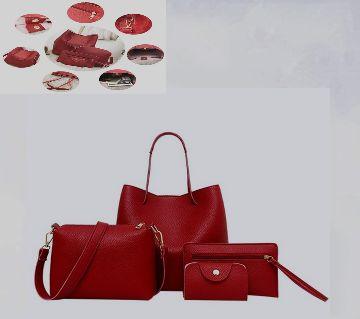 4Pcs Women Solid Leather bag set