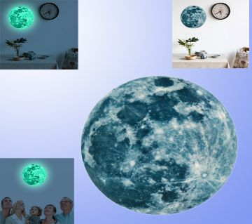 Luminous Moon Earth Cartoon DIY 3D Wall Stickers for Kids