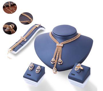 Gold Color Crystal Necklace Earring Bracelet Ring Set
