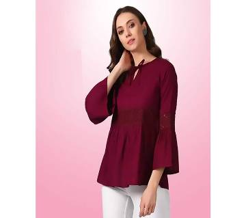 Remanika Party Flared Sleeve Solid Women Maroon Top