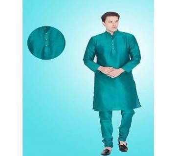 Men Solid Straight Cotton Silk Panjabi