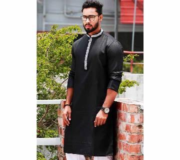 gents long cotton punjabi- black