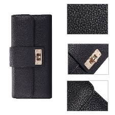 Fashion long design purse clutch for women (Black)