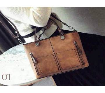 Women shoulder vintage PU leather casual tote bag (Brown) - 1847A