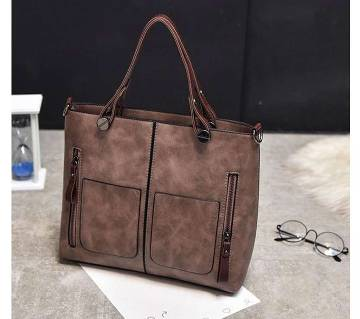 Women shoulder vintage PU leather casual tote bag (Light Chocolate) 1847D