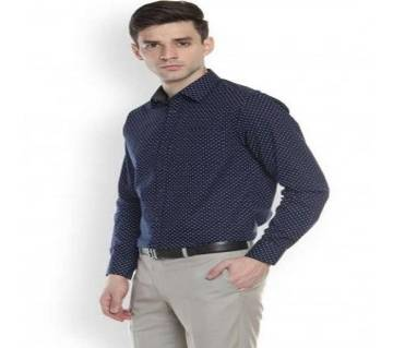 Mens printed navy blue shirt