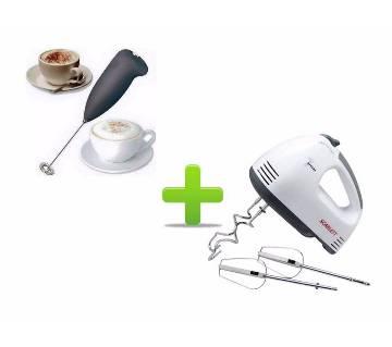 Electric egg beater mixer & hand Coffee mixer Combo