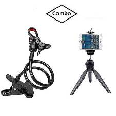Combo Pack Of Flexible Lazy Mobile Stand, Mini Tripod Holder Stand