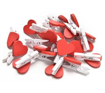 Heart Shape Wooden Photo Clip  10 Pcs/