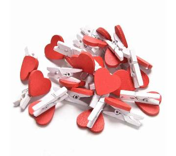 Love Hearts Wooden Photo Clips
