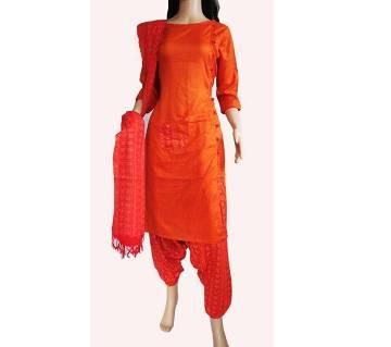 Stitched Cotton Three Piece Dress