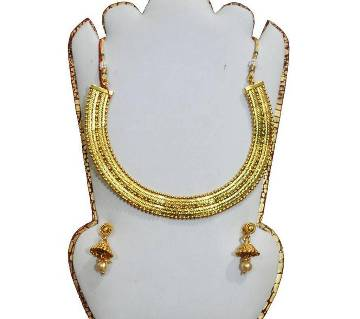 city gold necklace- with ear ring