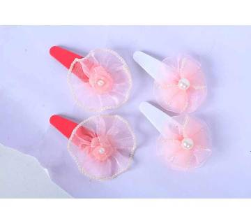 Pink Rose And Bow Hair Clip - 2 Pcs Set