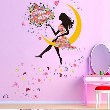 The Lady on Moon Wall Sticker