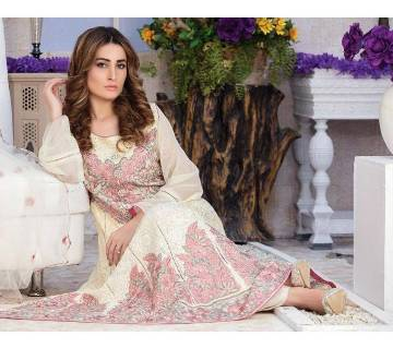 POSHAK Semistitched chiffon lawn three piece