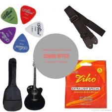 Combo Offer Signature Semi-Electric Acoustic Guitar - Black