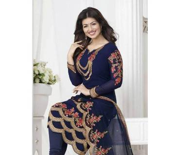 Semistitched georgette  embroidery long party suit-copy