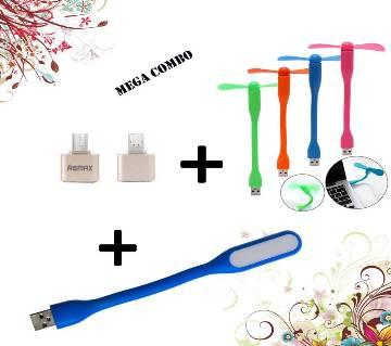 3 In 1 মিনি USB ফ্যান + USB LED লাইট + OTG অ্যাডাপ্টর কম্বো অফার