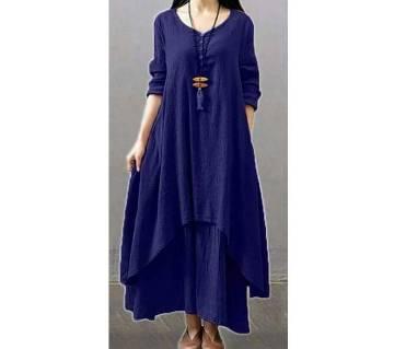 Ladies stitched long kurti with skirt