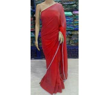 Georgette party red sharee