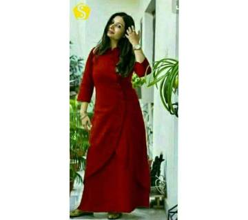 Ladies stitched long kurti with skirt