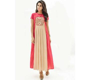 Unstitched replica georgette embroidery long kurti