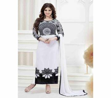 Black Block and White Printed 3 pieces Salwar Kameez for Women