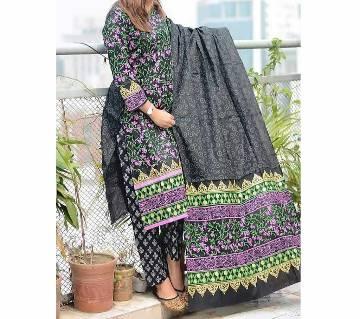 Black and Multi Block Printed 3 pieces Salwar Kameez for Women
