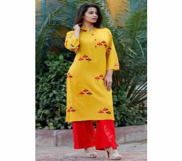 Latest Goldenrod Block Printed 2 pieces Salwar Kameez for Women