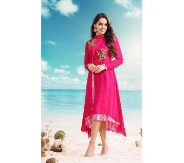 Unstitched embroidery georgette long kurti