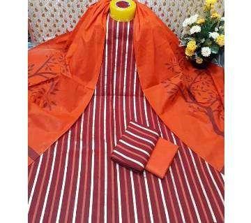 Unstitched Marron and Orange Skin Printed 3 pieces Salwar Kameez for Women