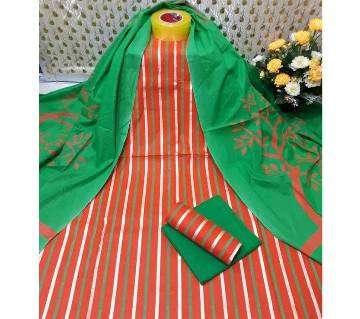 Unstitched Orange and Green Skin Printed 3 pieces Salwar Kameez for Women