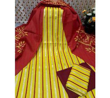 Unstitched Yellow and Marron Skin Printed 3 pieces Salwar Kameez for Women