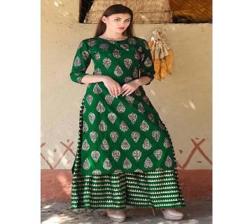 Un-stitched rajdhani voyel cotton block print salwar kameez seblock-252