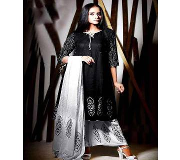 Un-stitched rajdhani voyel cotton block print salwar kameez seblock-258