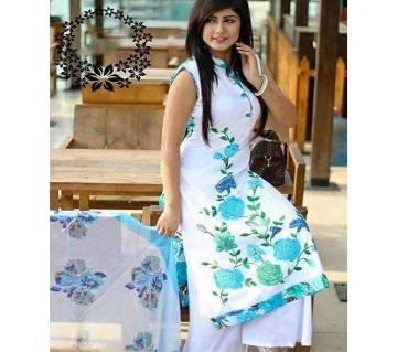 unstiched block printed cotton replica three pcs salwar kameez seblock-262
