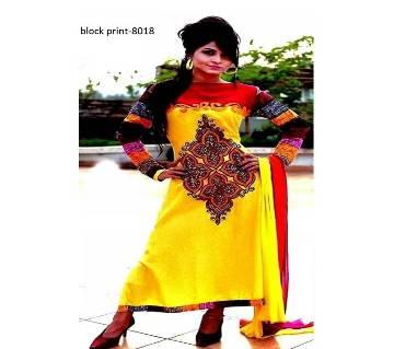 Unstitched Block Printed Cotton Salwar Kameez (Copy)