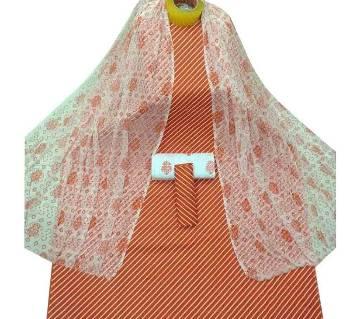 Unstiched Orange Skin Printed Cotton 3 pieces