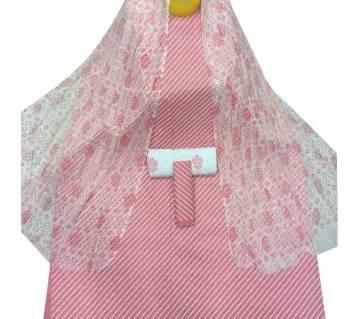 Unstiched Pink Skin Printed Cotton Three Piece