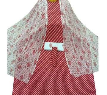 Unstiched Red Skin Printed Cotton 3 pieces