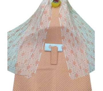 Unstiched Apricot Skin Printed Cotton 3 pieces