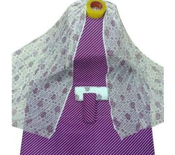 Unstitched Violet Skin Printed Cotton Three Pieces