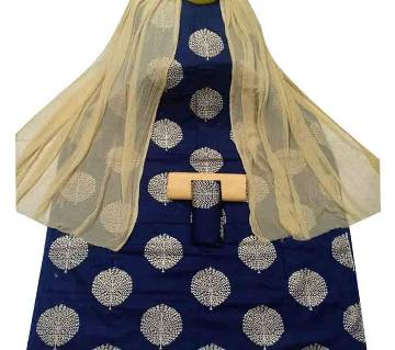 Unstiched Cotton Skin Printed 3 pieces Navy Blue