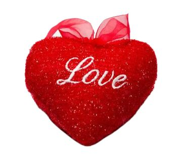 Love LOVE MUSIC HEART PILLOW-RED