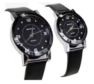 Black analog couple watch